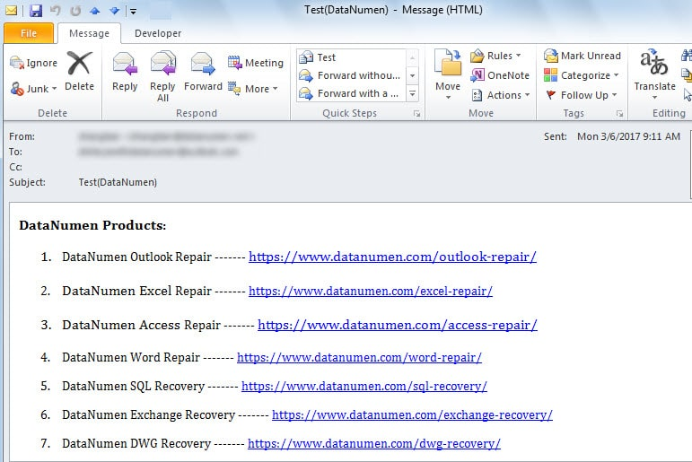 Several Hyperlinks in an Email