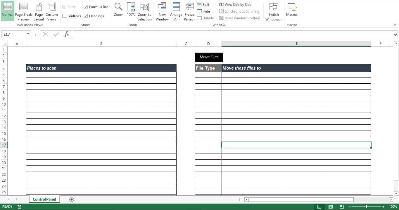 """Prepare The """"ControlPanel"""" Sheet"""