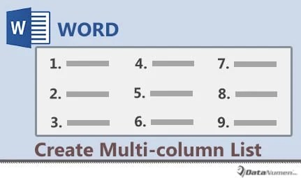 Create a Multi-column Bulleted or Numbered List