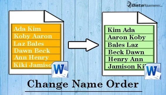 Batch Change the Order of First and Last Name in a List