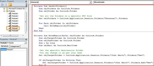 VBA Codes - Batch Move All Emails in an Outlook PST File to a Specific Folder