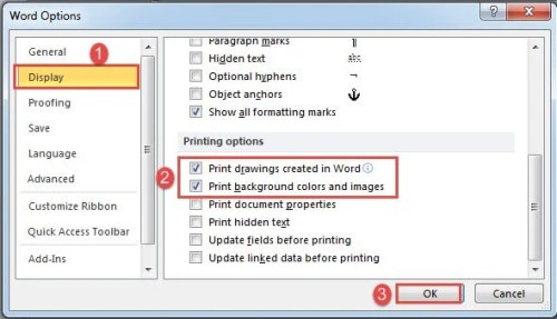 Click Display Check Print Options