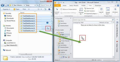 Drag and drop the selected emails to the visible Outlook folder