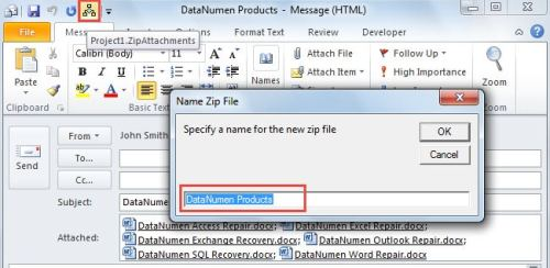 Specify a name for the zip file