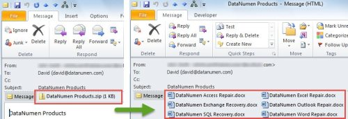 how to send a zip file in outlook