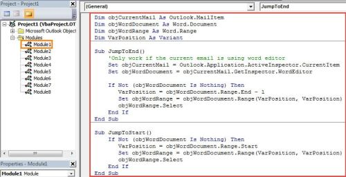 VBA Code -  Jump to the Beginning or End of Message Body