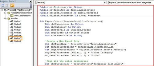 VBA Code - Count Items in Each Color Category in Your Outlook
