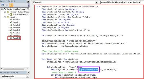 VBA Code - Import via OpenSharedItem