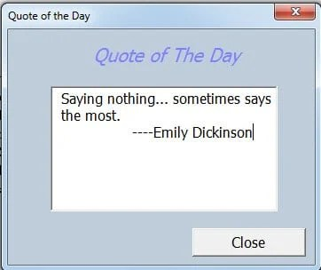 A User Form Showing the Quote