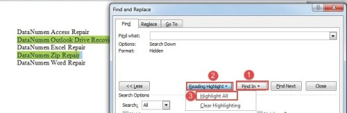 """Click """"Find In""""->Click """"Reading Highlight""""->Choose """"Highlight All"""""""