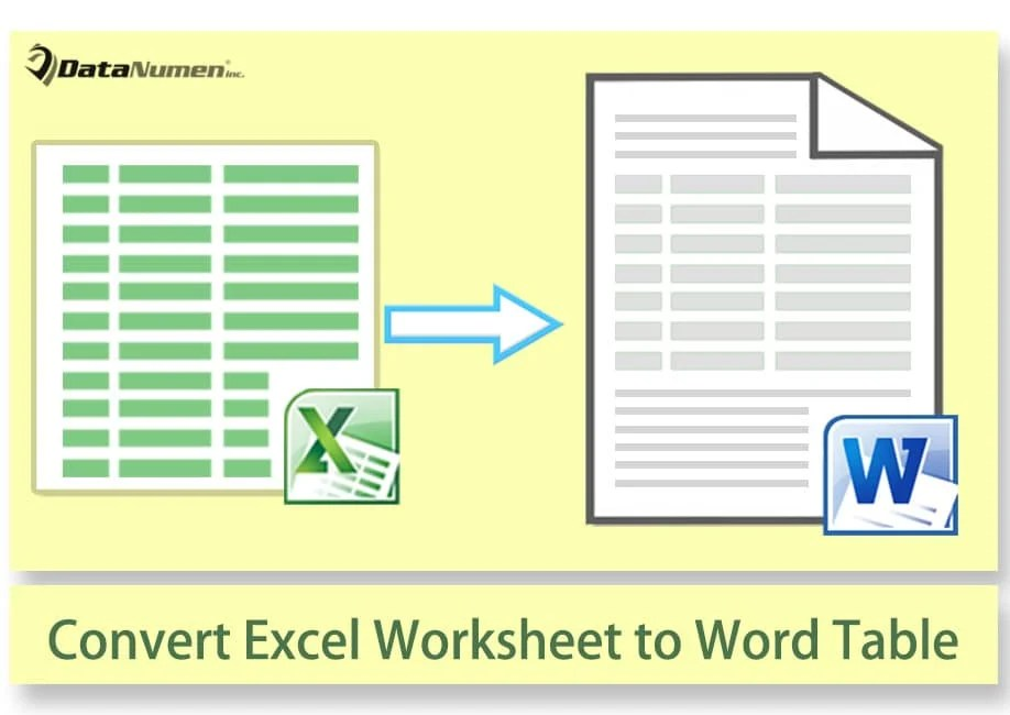 How To Convert Excel Worksheet To Native Word Table Via