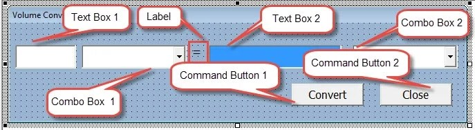 Create Two Text Boxes,Two Combo Boxes, Two Command Buttons and One Label