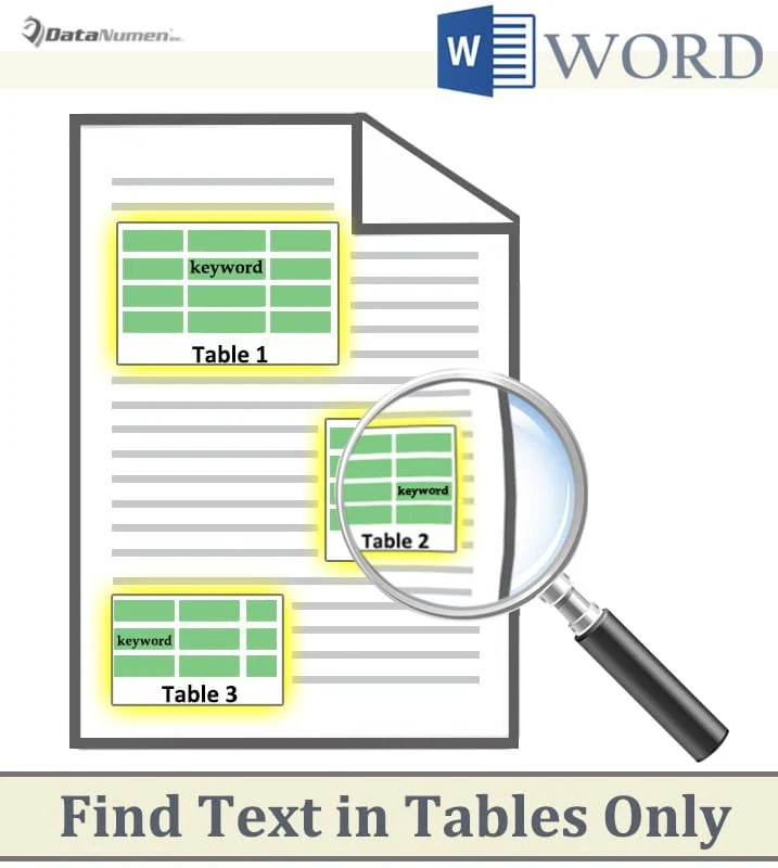 Find Text in Your Word Tables Only