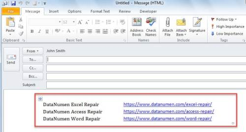 New Email Containing Selected Excel Cells