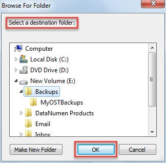 Select a destination local folder