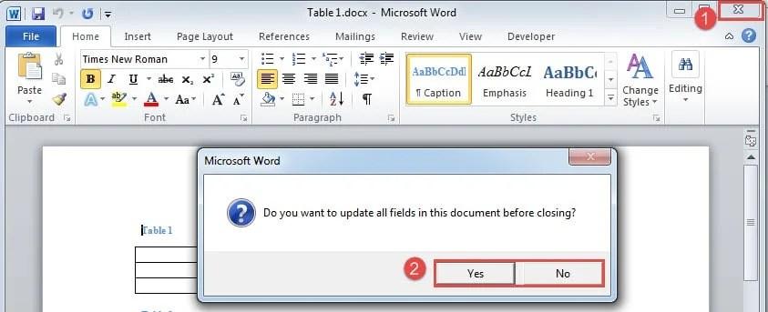 microsoft word update all fields