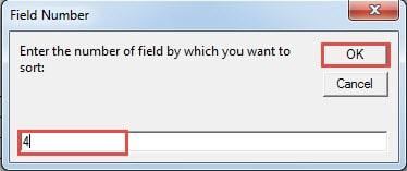 "Enter a Column Number ->Click ""OK"""