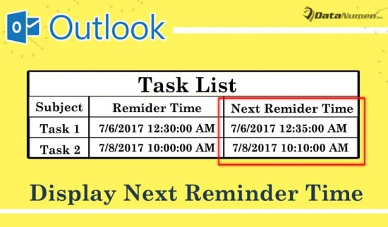 Display Next Reminder Time in Task List with Outlook VBA