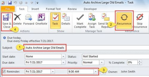 Create a recurring task with an enabled reminder