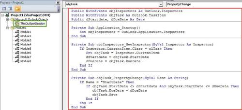 VBA Code - Keep a Task's Due Date Unchanged when Changing Its Start Date