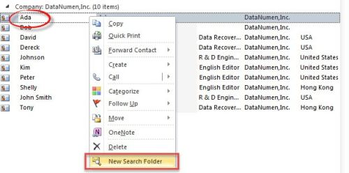 "Select ""New Search Folder"" Option from Context Menu"