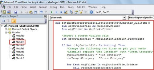 VBA Code - Batch Replace One Color Category with Another for All Items
