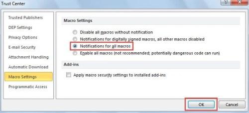 Change Macro Security