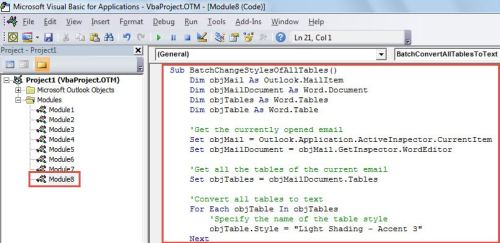 VBA Code - Batch Change the Styles of All Tables