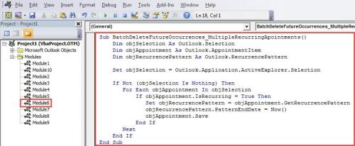 VBA Code - Batch Change End Dates of Recurrences of Appointments