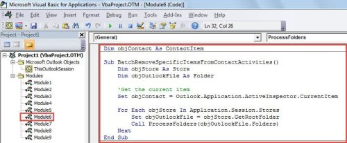 VBA Code - Batch Remove Specific Entries from Contact Activities