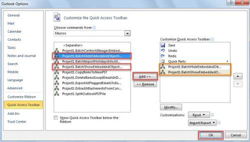 Add Macros to Quick Access Toolbar
