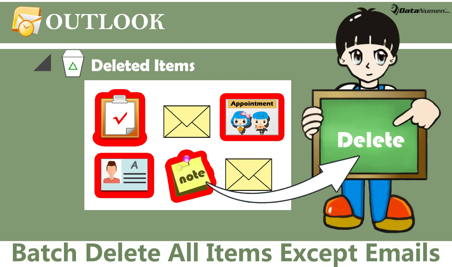 "Batch Delete All Items Except Emails in ""Deleted Items"" Folder in Outlook"