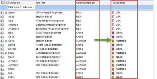 Categorize Contacts by Country