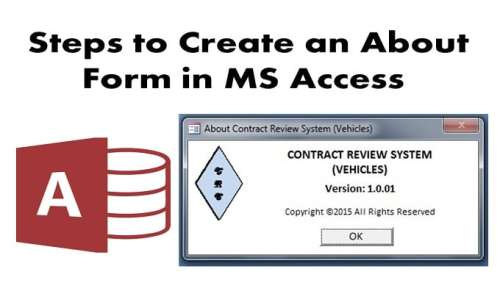 Create An About Form In MS Access
