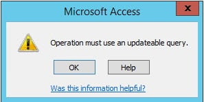 Non-Updatable Queries In MS Access