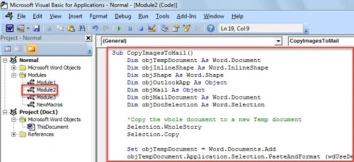 Put VBA Code into Word VBA Editor