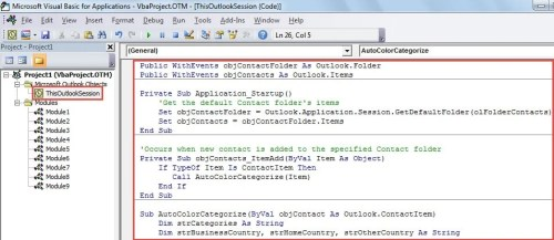 VBA Code - Auto Color Categorize Contacts Based on Their Countries