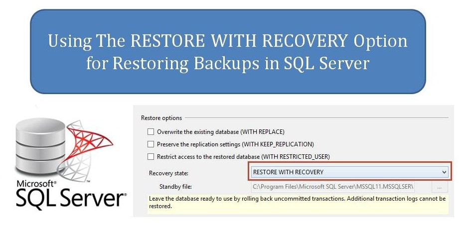Working Restore With Recovery Option In SQL Server