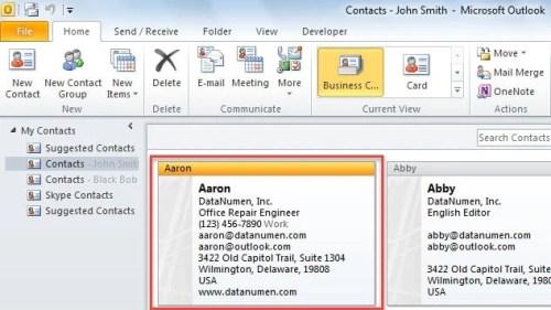 Select an Outlook Contact