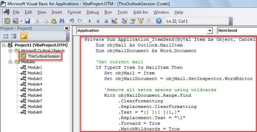VBA Code- Auto Remove All Extra Spaces between Words in Email