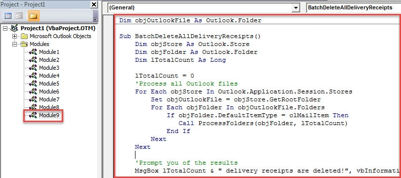 VBA Code - Batch Delete All Delivery Receipts