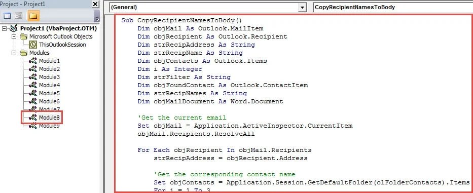 VBA Code - Insert Recipient Names to Email Body