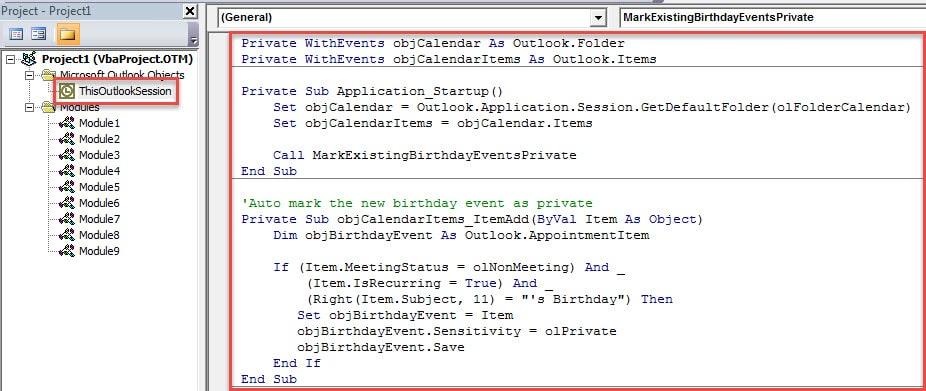VBA Code - Auto Mark Birthday Events as Private in Calendar