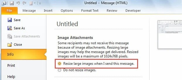 Auto Resize large images when I send this message