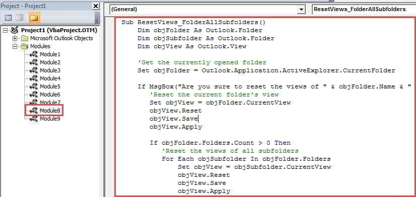 VBA Code - Batch Reset the Views of a Folder and All Its Subfolders