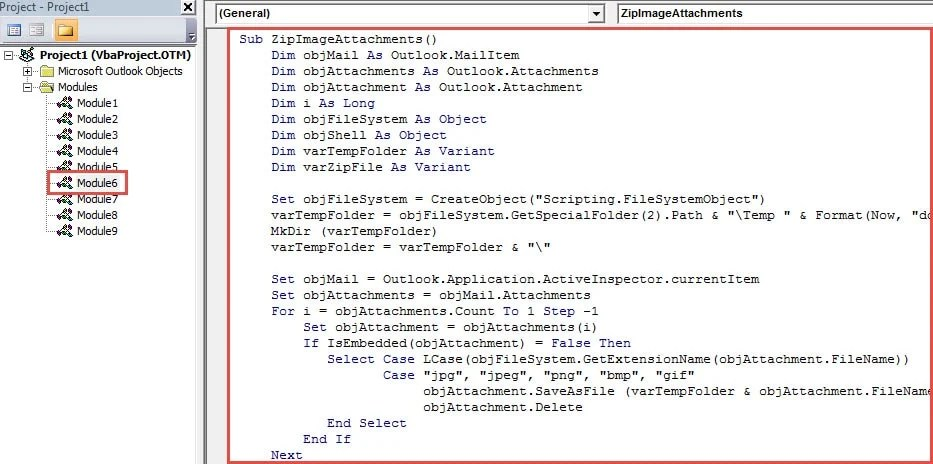 VBA Code - Zip All Image Attachments after Attaching