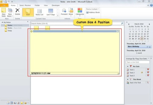 Custom Size and Position of Note Window