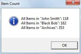 Message Prompting Item Count in Each Outlook File