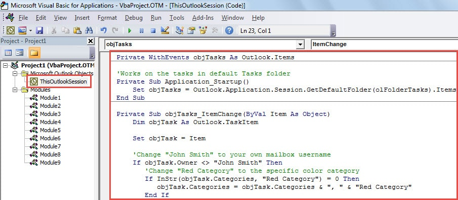 VBA Code - Process the Tasks in Default Tasks Folder