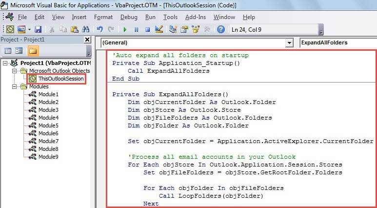 VBA Code - Auto Expand All Folders when Starting Outlook